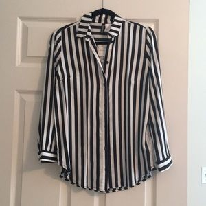 Black and white striped button down
